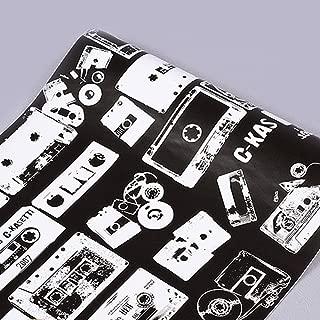 SimpleLife4U Black White Contact Paper Retro Cassette Shelf Liner Countertop Door Sticker 17.7inch by 9.8 Feet