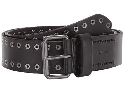 AllSaints 38 mm Flat Strap w/ Eyelet Studs Roller Buckle (Black) Men