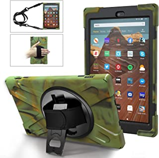 MoKo Case Fits Fire HD 10 Tablet (7th/9th Generation, 2017/2019 Release), PC + TPU Full-Body Rugged Back Cover 360 Degree Rotating Kickstand shell with Shoulder Strap and Hand Strap - Camouflage Green