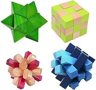 KINGOU 4 Pack 3D Wooden Puzzle Set Colorful Mini Size Burr Puzzle, Cube Brain Teaser for Adults Games