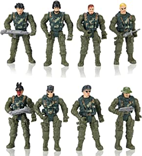 Hautton Soldier Action Figures Toy, 8 Army Men with Weapons Accessories, Removable Body Adjustable Arms Legs Military Play...