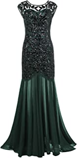 kayamiya Women's 1920s Evening Dress Formal Beaded Sequin Maxi Long Flapper Prom Ball Gown
