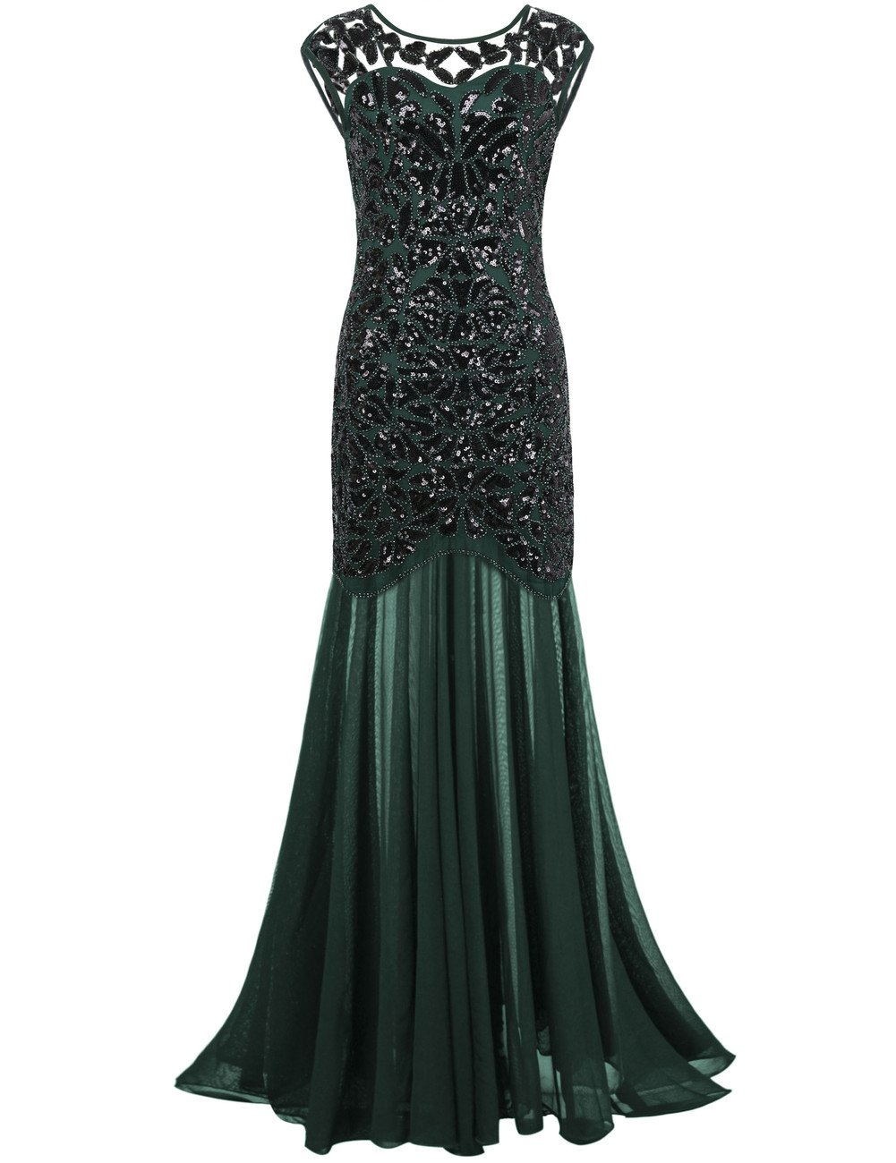 Available at Amazon: kayamiya Women's 1920s Evening Dress Formal Beaded Sequin Maxi Long Flapper Prom Ball Gown