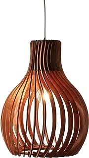 Opis PL2 – Lampe suspension en bois marron composée de pièces élégantes et incurvées