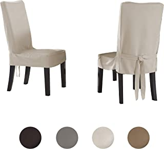 Serta | Relaxed Fit Smooth Suede Furniture Slipcover for Dining Room Chair, Short Skirt (Ivory)