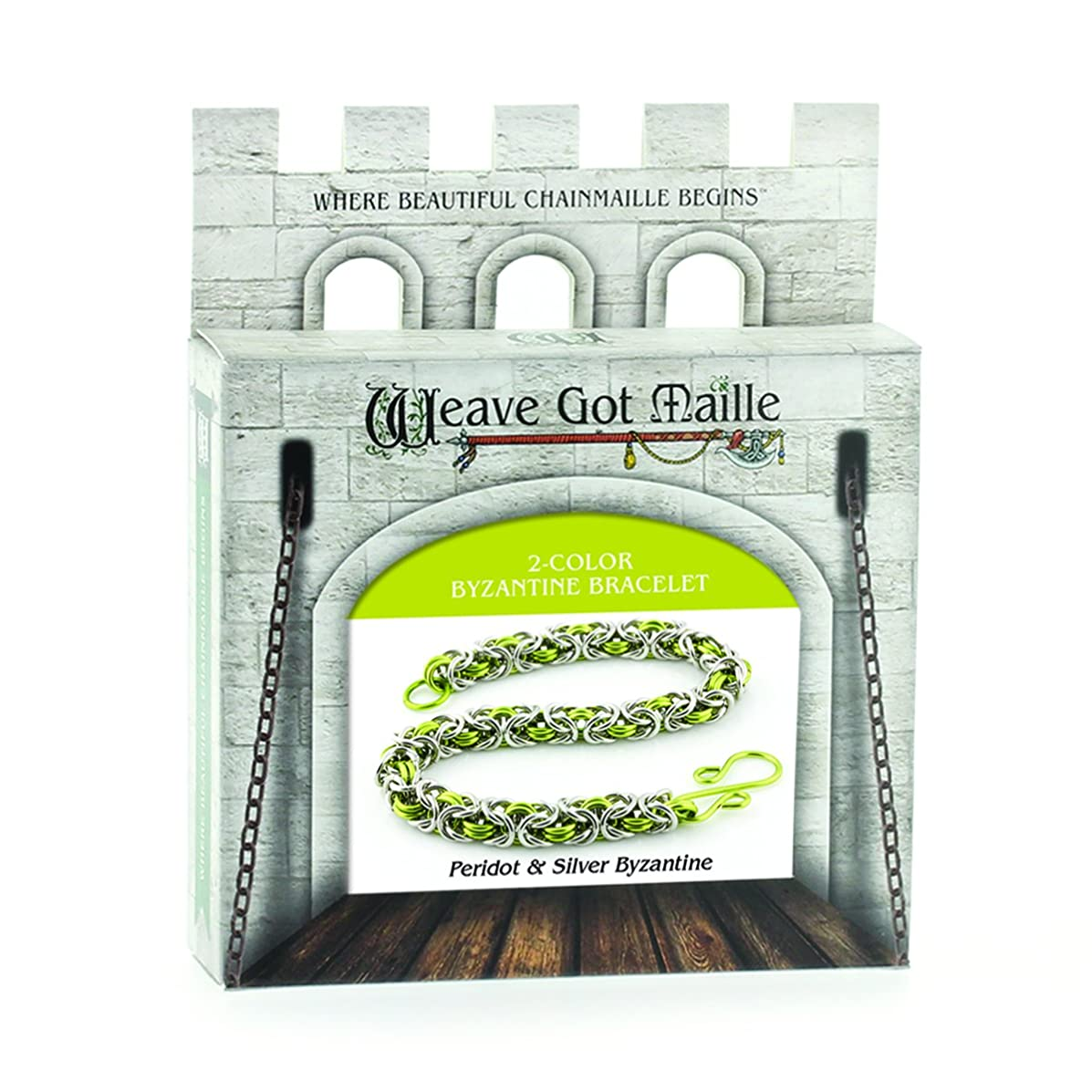 Weave Got Maille 2-Color Byzantine Chain Maille Bracelet Kit, Peridot and Silver