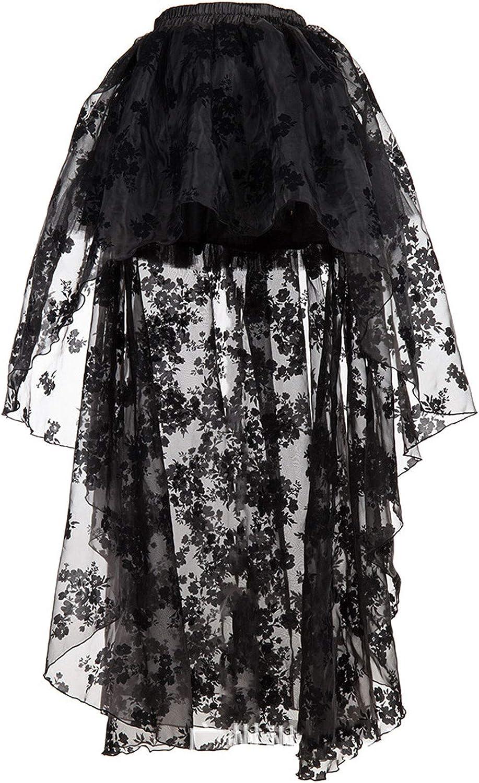 CHARTOU Women's Elegant Sheer Mesh Floral Lace Hi-Low Wedding Tulle Tutu Skirt