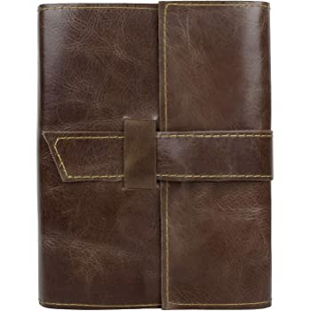 Handmade Refillable Leather Journal - Antique Travel Notepad for Men & Women - Lined 8 x 6 inches Paper Notebook Diary for Writers, Artist, Poet - Gift Set for Him & Her (Journal with Ruled/Lined)