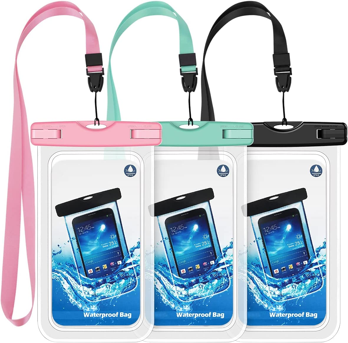 Universal Waterproof Case Cellphone Pouch,3 Pack Waterproof Pouch Underwater Dry Bag with Lanyard Compatible iPhone 12 Pro/11 Pro Max/Xs Max/XS/XR/X/8, Galaxy S20/S10/S9/Note 10, Google HTC up to 6.8