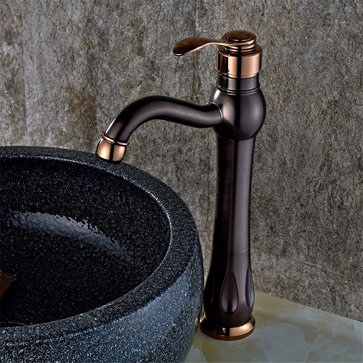 MMFHP Basin Faucet Copper Plating Paint Bathroom Hot and Cold Faucet