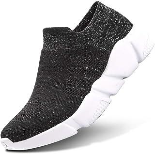 Littleplum Women Walking Shoes Running Breathe Mesh Shoes Fashion Platform Slip-On Sneaker Air Cushion Gym Modern Dance Shoes Men