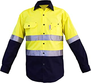 Mens Hi Vis Shirts Protective Safety Work with 3M ScotchliteTM Reflective Tape 100% Cotton Long Sleeve
