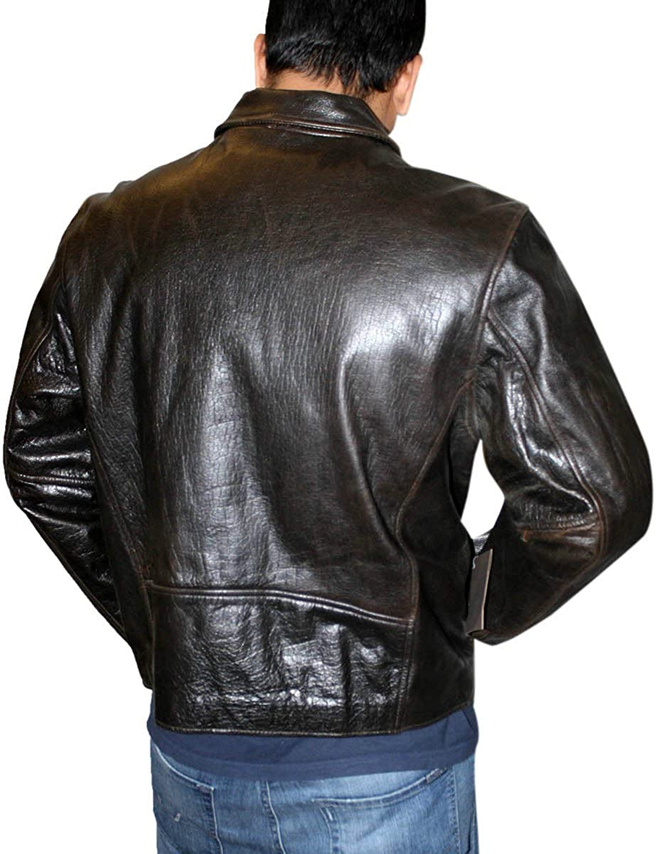 Men Brown Genuine Leather Casual Classic Basic Zipper Closure Jacket
