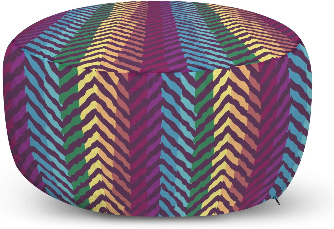Ambesonne Colorful Max 59% OFF Pouf Award-winning store Cover with Colored Zipper Diagona Retro