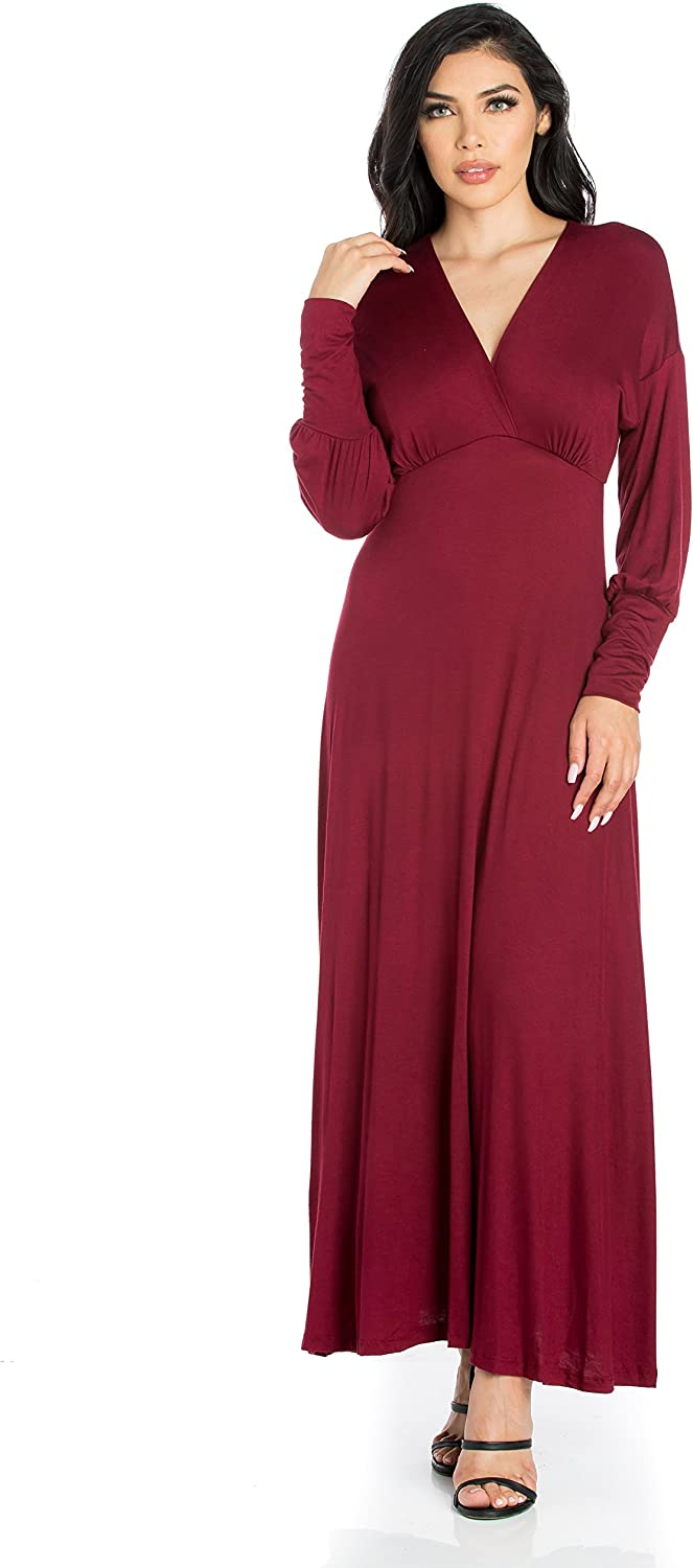 24 7 Comfort Apparel Long Sleeve Empire Maxi Dress
