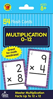Carson Dellosa - Multiplication Flash Cards Factors 0 to 12 - 54 Cards with 100 Problems for 3rd and 4th Grade Math, Ages 8+ with Bonus Game Card (Brighter Child Flash Cards) (Packaging may vary)