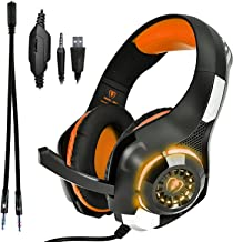 Gaming Headset, Beexcellent GM-1 3.5mm Surround Sound Gaming Headset with Microphone for PS4, Xbox, PC, Laptop, Tablet, Cell Phone, LED Lights (Orange)