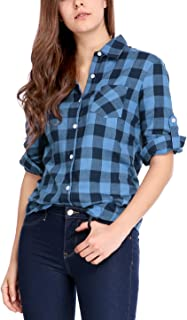Women's Roll Up Sleeves Buttoned Boyfriend Plaids Shirt
