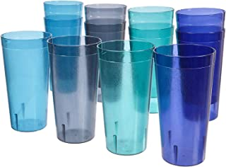 Café 32-ounce Plastic Restaurant-Style Tumblers | set of 12 in 4 Coastal Colors