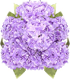 Greentime Artificial 7 Heads Hydrangea Flowers Fake 13 Inches Mini Silk Hydrangea Flowers Faux Tiny Hydrangea Bouquet for Wedding Home Table Centerpiece Party Decoration (Purple)