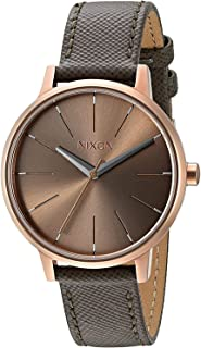 Nixon Kensington Leather Rose Gold/Taupe Casual Designer Women's Watch (37mm. Rose Gold & Taupe Face/Taupe Leather Band)