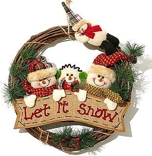 XONOR Christmas Wreath for Front Door - 14 inch/35cm Door Wreaths Christmas Home Door Hanger Wall Car Decoration (Three Snowman)