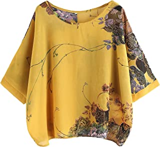Women's Florals Batwing Sleeve Button Back Chiffon Blouse