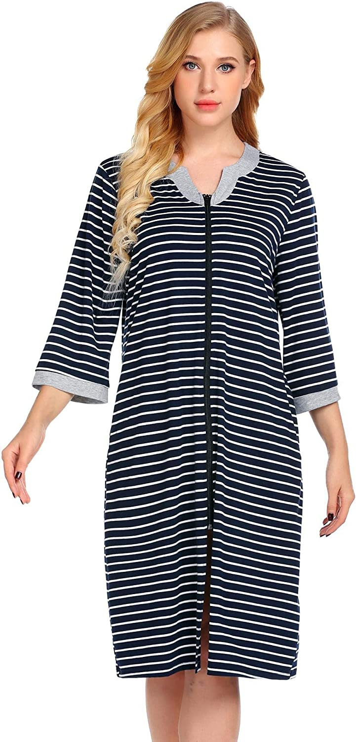 Aimado Women Long Sleeve Nightgown Casual ONeck Striped Zipper Nightdress SXXL