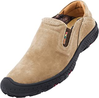 Leather Mens Casual Sneaker Elastic Slip on Loafers Classic Sports Outdoor Walking Shoes