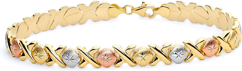 14k Tri Color Gold Stampato Bracelet - 7.5