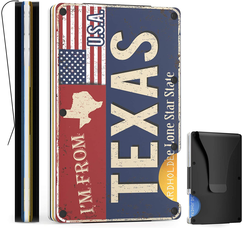 HOMSUM RFID Slim Wallets for Men, Minimalist Front Pocket RFID Blocking Metal Wallets for Men with Money Clip, RFID Minimalist Wallet Card Wallet (Texas)