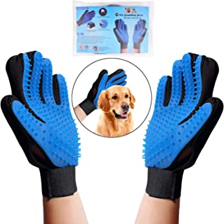 OWUDE Pet Grooming Glove - Gentle Hair Remover Mitt - Breathable Deshedding Massage Tool Bathing Brush - Enhanced Five Fin...