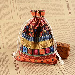 50Pack Ethnic Style Drawstring Gift Bag Cotton Jewelry Coin Pouches Reusable for Sachet Candy Wedding Favors Party and Christmas, 13x18cm,Red