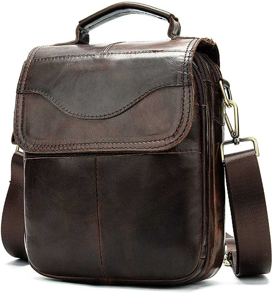 Baigio , borsello vintage per uomo , a tracolla , in vera pelle