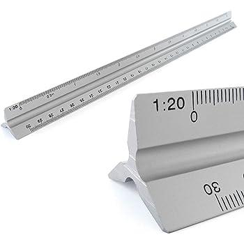 30cm Escal/ímetro Profesional de Aluminio Escala 1:10 1:20 1:25 1:50 1:75 1:125 1:100 1:200 1:250 1:500 1:750 1:1250 Triangular para Arquitectura Ingenier/ía Dibujo T/écnico Diseno