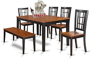 NICO6-BLK-W 6-Pc Dining room set with bench-Kitchen Tables and 4 Dining Chairs Plus bench