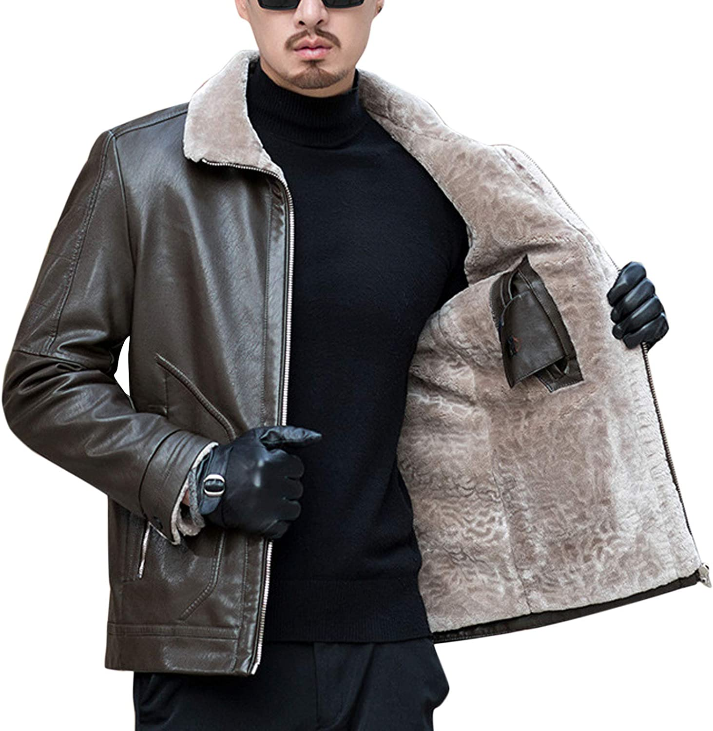 Flygo Men's Warm Sherpa Fleece Lined Faux Leather Motorcycle Jacket with Fur Collar
