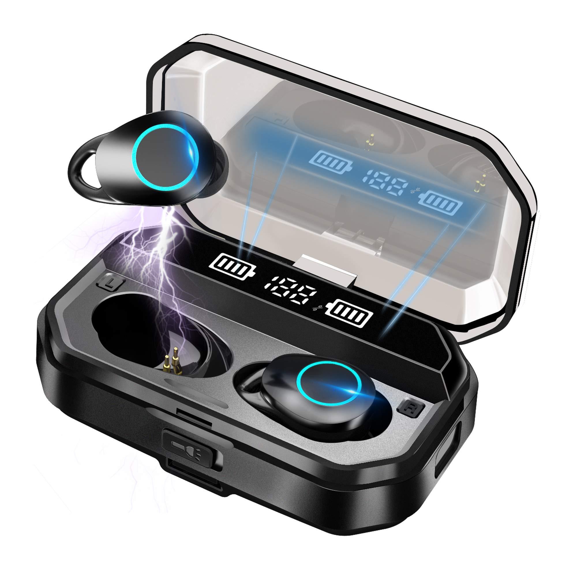 【2021年高級デザイン 】Bluetooth イヤホン ワイヤレスイヤホン ブルートゥースイヤホン Hi-Fi 高音質 最新Bluetooth5.1+EDR搭載 3Dステレオサウンド AACコーデック搭載 ノイズキャンセリング機能 自動ペアリング LED残量表示 装着感が快適 左右分離型 音量調整可能 IPX7防水 PSE/技適認証済 ブルートゥース 会議/テレワーク/通勤通学/ランニング/運転(4000mAh充電ケース付き イヤフォン本体5時間再生/合計200時間再生); セール価格: ¥2,999