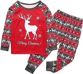 Kids Toddler Boys Girls Christmas Pajamas Set Deer Print T Shirt Snowflake Pants Outfits Cotton Clothes Set