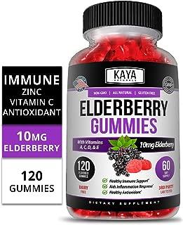 Kaya Naturals Immune Support Vegetarian Vitamin Gummy, 120 Count, Zinc, Vitamin C, Elderberry, Vitamin E, Lemon Flavor (120 Gummies)