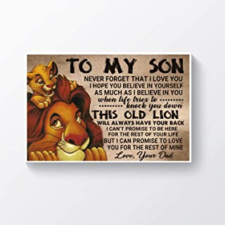 DesDirect Store to My Son Never Forget Poster - That I Love You I Hope You Believe in Yourself As Much As I Believe Poster Wall Art Home