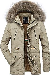 Jueshanzj Men's Long Fur Collar Warm Trench Coat