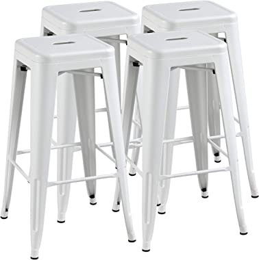 YAHEETECH 30inch Barstools Counter Height Metal Bar Stools, Indoor Stackable Bartool Industrial for Bistro/Café/Kitchen Set o