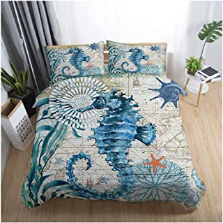 JINGRUI Bed Set 3D Print (1 Duvet Cover Set+2 Pillowcases) Sea Turtle Animals Cool Summer Twin Full Queen King Design for Kids Adult Children's Home Textile Bedding (Seahorse, Full,80