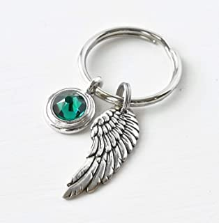 Keychain with Angel Wing and May Birthstone - Sympathy Gift for Men Loss of Mom Dad