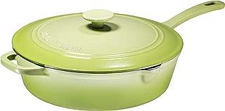 Enameled Cast Iron Skillet Deep Sauté Pan with Lid, 12 Inch, Matte Green, Superior Heat Retention
