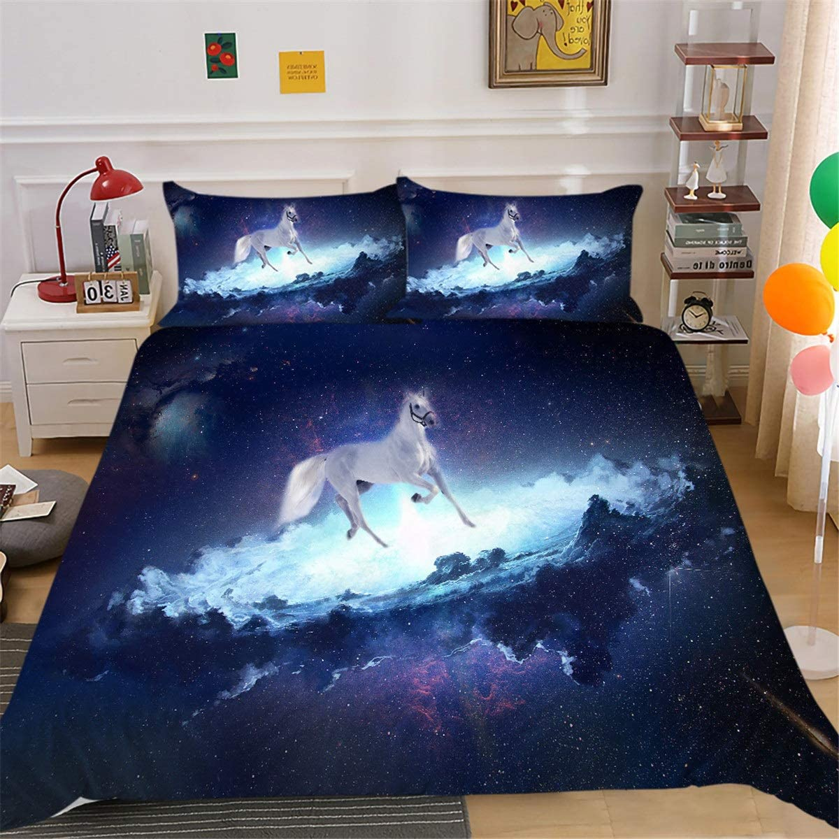 GYF Animal Spring new work one after another Print Bedding Set 3D We OFFer at cheap prices Nebula Galaxy Printed Br Fantasy