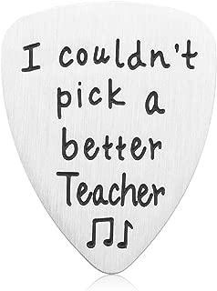 Teacher Appreciation Gift Idea - Stainless Steel I Couldn't Pick A Better Teacher Guitar Pick, Best Teacher Jewelry for Birthday Graduation Christmas, Thank You Gifts for Musicians Men Women