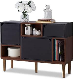 Baxton Furniture Studios Anderson Mid-Century Retro Modern Oak and Wood Sideboard Storage, Espresso