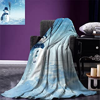 smallbeefly Snowman Custom Design Cozy Flannel Blanket Snow Covered Wintry Landscape with Cute Happy Snowman Cold Outdoors Lightweight Blanket Extra Big Dark Blue Pale Blue White